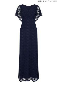 Mela London Wrap Front Lace Maxi Dress