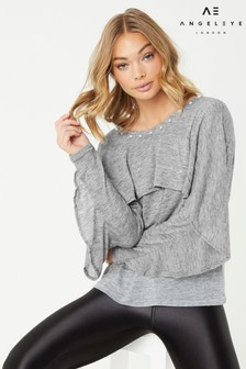 Angeleye Ruffle Front Pearl Detail Jumper