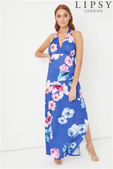 Lipsy Petite Floral Halter Maxi Dress