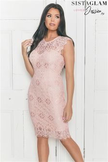 Sistaglam Loves Jessica Scallop Detail Lace Bodycon Dress