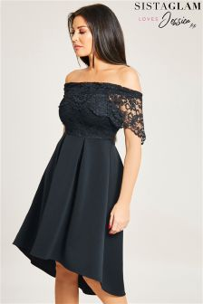 Sistaglam Loves Jessica Bardot Lace Skater Dress