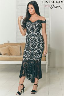 Sistaglam Loves Jessica Bardot Lace Fishtail Bodycon Dress
