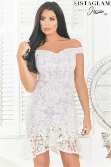 Sistaglam Loves Jessica Sequin Lace Bardot Bodycon Dress