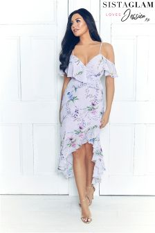 Sistaglam Loves Jessica Floral Print Frill Maxi Dress