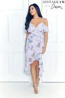 Sukienka maxi Sistaglam Loves Jessica z kwiatowym wzorem i falbanami