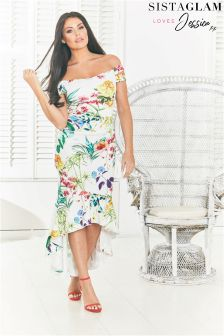 Sistaglam Loves Jessica Floral Print Bardot Bodycon Dress