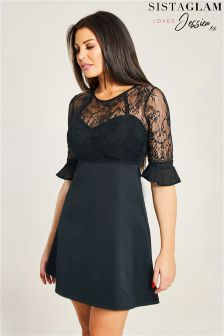 Sistaglam Loves Jessica 2 In 1 Lace Top and Jersey Skirt Skater Dress