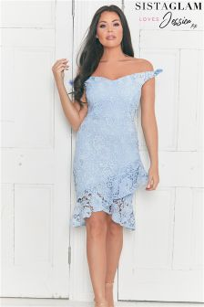 Sistaglam Loves Jessica Bardot Crochet Lace Dress With Asymmetric Frill Hem