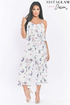 Sistaglam Loves Jessica Floral Chiffon Jumpsuit With Frill Top And Cross Back Straps