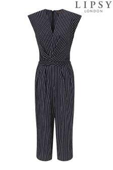 Lipsy Stripe Wrap Culotte Jumpsuit