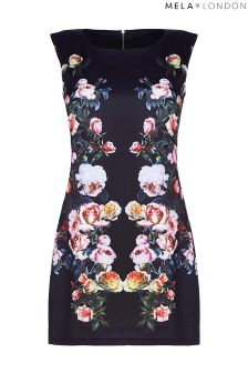 Mela London Curve Placement Floral Bodycon Dress