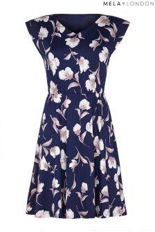 Mela London Curve Floral V neck Shift Dress