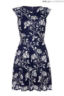 Mela London Curve Printed Rose Shift Dress