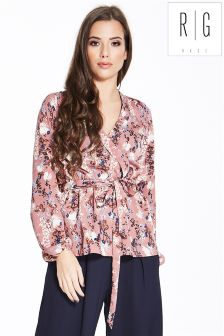 Rage Printed Wrap Blouse