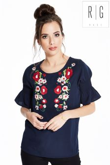 Rage Embroidered Short Sleeve Top