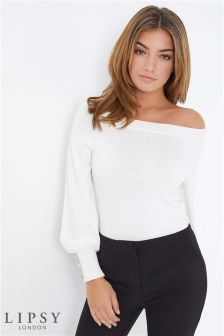 Lipsy Button Cuff Bardot Jumper