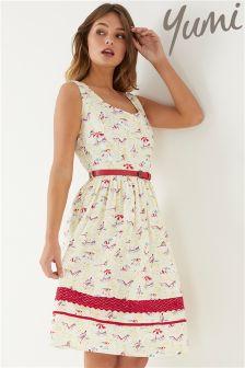 Yumi Beach Lace Trim Dress
