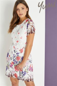 Yumi Crochet Flower Printed Tunic Dress