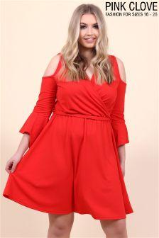 Платье с открытыми плечами и запахом Pink Clove