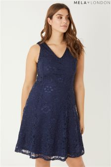 Mela London Curve Lace Fit and Flare Dress