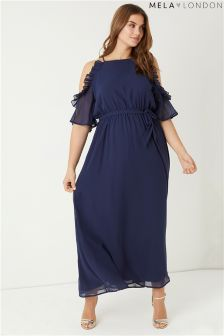 Mela London Curve Side Frill Maxi Dress