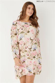 Mela London Curve Rose Print Tunic Dress