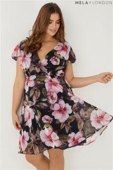 Mela London Curve Front Wrap Dress