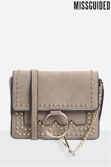 Missguided Ring Detail Studded CrossBody Bag