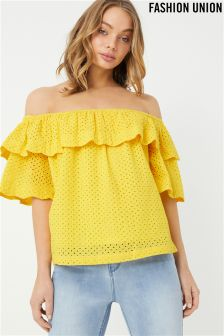 Fashion Union Broderie Ruffle Off Shoulder Top