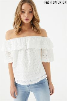 Fashion Union Broderie Ruffle Bardot Top
