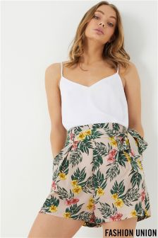Fashion Union Tropical Leaf Print Paperbag Shorts