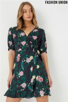 Fashion Union tropical print Wrap Dress