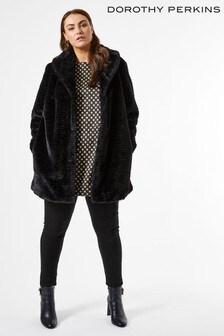 Dorothy Perkins Curve Longline Shawl Collar Faux Fur Coat