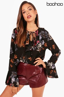Boohoo Kate Printed Ruffle Tie Neck Shirt
