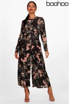 Boohoo Maryanna Floral Knot Front Jumpsuit