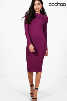 Boohoo Flo Ribbed High Neck Long Sleeved Midi Dress