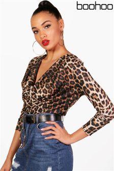 Boohoo Jessica Cowl Neck Leopard Print Top
