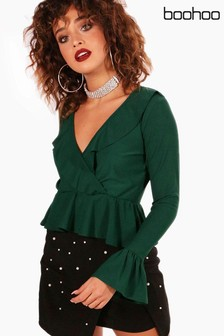 Boohoo Riley Tie Front Ruffle Hem Long Sleeve Top