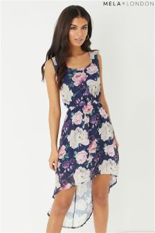 Mela London Rose Print High Low Dress