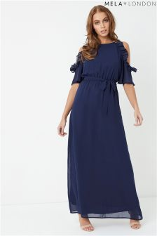 Mela London Side Frill Maxi Dress