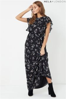 Mela London Side Ruffle Printed Maxi Dress