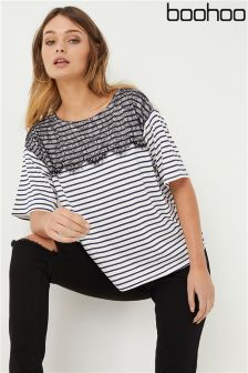Boohoo Stripe Jersey Lace Overlay T-Shirt