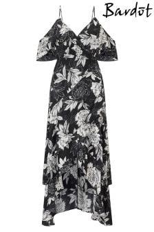 فستان بكتف مفتوح وتفصيل كشكشة من Bardot