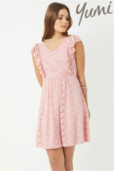 Yumi Lace Dress With Frill Sleeve