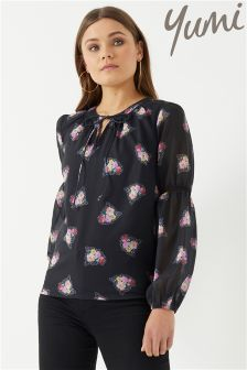 Yumi Watercolour Rose Lace Spot Top