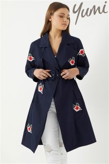 Yumi Embroidered Trench Coat