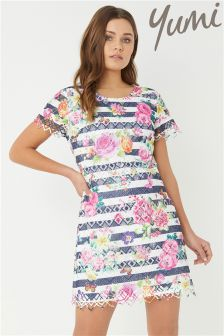 Yumi Stripe And Flower Printed Lace Dress