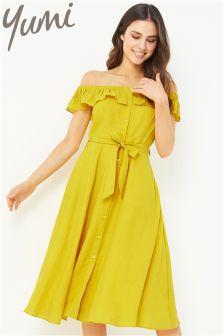 Yumi Off The Shoulder Button Through Dress