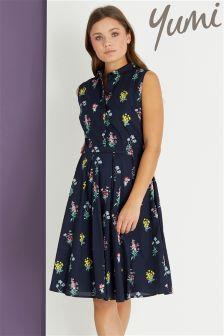 Yumi Botonical Bouquet Print Shirt Dress