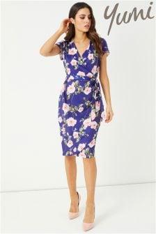 Yumi Tie Waist Rose Print Dress